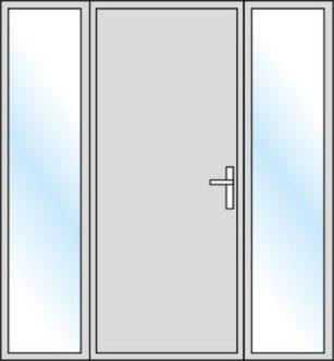Type ouverture porte d'entrée_1vantail et 2 fixes latéraux_Weisz